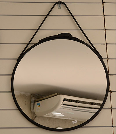 Espelho 4mm lapidado com armação preta 55Ø