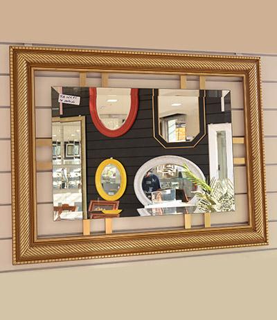 Espelho bisotado 4mm com chassi dourado 880×680